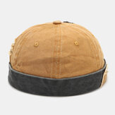 Men Cotton Made-old Washed Patch Hole Patchwork Color Casual Yuppie Brimless Landlord Hat Skull Hat Beanie