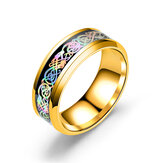 Moda ze stali nierdzewnej Dragon Pattern Ring Multicolor Couple Rings for Her Him Gift