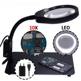 PD-032C 10X USB Magnifier Lamp 48 LEDs with Metal Base Magnifying Glass For Electrics Metal And Plastic Inspection