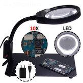 PD-032C 10X Lampe-loupe USB 36 LED avec support en métal Loupe pour inspection électrique du métal et du plastique