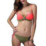 Women Sexy Fiszbiny Push-up Bikini Set Ruched Regulowana stroje kąpielowe
