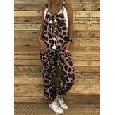 Women Leopard Print Sleeveless Casual Loose Jumpsuit with Back Pockets