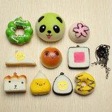 10 Stücke Zufällig Squishy Weicher Sushi / Panda / Brot / Kuchen / Brötchen Telefon Anhänger
