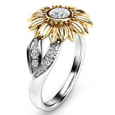 Elegante Zircão Inlaid Gold Goldflower Anel Platinum Oco