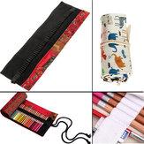 Agujeros 48pcs lápiz lápiz lona bolsa rollo pluma caso sostenedor bolsa de almacenamiento portátil