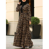 Leopard Printed Lace Patchwork Flare Sleeve Kaftan Tunic Muslim Maxi Dress