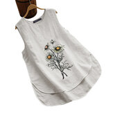 Camicie casual senza maniche in cotone ricamato floreale ZANZEA Camicie casuali