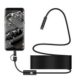 Bakeey 3 in 1 7mm 6Led Type C Mikro USB Borescope Muayene Kamera Soft Kablo Android PC için