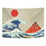 壁掛けタペストリーポリエステルグレートウェーブマウント富士山柄タペストリー寮の寝室のリビングルームの装飾