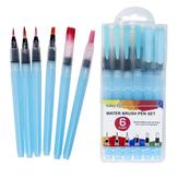6 Stück wasserlösliche Farbe Blei fester Aquarellpinsel Soft Head Set Malpinsel für Anfänger Malen Zeichnen Schreibpinsel Kunstzubehör