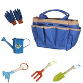 6Pcs Kids Gardening Tools Children Shovel Spade Fork Set Tote Bag Garden Yard
