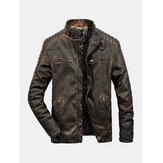 Мужская куртка с длинным рукавом и карманом с воротником из искусственной кожи Винтаж