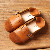 Women Casual Slip On Soft Leather Shoes Outdoor Low Top Flat Loafers
