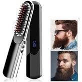 Peigne à cheveux raides multifonctionnel sans fil USB charge brosse à lisser les cheveux LCD sans fil hommes barbe lisseur peigne de style de cheveux