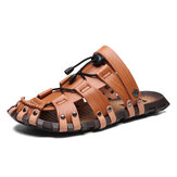Men Genuine Leather Breathable Hollow Soft Sole Casual Sandals