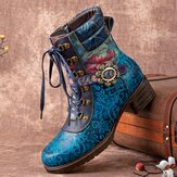 Socofy Women Retro Floral Printing Leather Comfy Lace Up Chunky Heels Mid-calf Boots