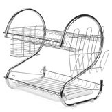 Multifunction 2 Tier Kitchen Dish Cutlery Drainer Rack Drip Tray Plate Holder Drain Shelf