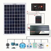 12V/24V DIY Solar System Kit Soalr Charge Controller 18V 20W Solar Panel 1000W Solar Inverter Solar Power Generation Kit