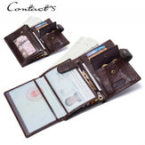 Men Genuine Leather Fashion Multi-function Hasp Wallet