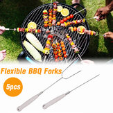 5PCS Bastoncini di torrefazione telescopici Barbecue Spiedini Salsicce Barbecue per barbecue