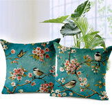 Honana45x45cmEvDekorasyonColorful Çiçekler ve Kuşlar 3D Baskılı Pamuk Keten Yastık Kılıfı Kanepe Minder Örtüsü