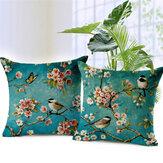 Honana45x45cmHomeDekorationColorfulBlumen und Vögel 3D Printed Cotton Leinen Kissenbezüge Sofa Kissenbezug