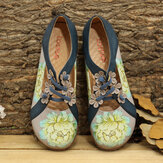LOSTISY Flower Pattern Elastic Band Round Toe Splicing Retro Casual Flats