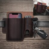 Men Genuine Leather 6.5 Inch Phone Keychain Belt Sheath Belt Bag
