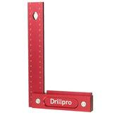Drillpro 150 / 200mm métrica precisión carpintería cuadrada aleación de aluminio ancho asiento trazado herramienta L 90 ° regla de ángulo recto