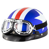 Universal ABS Motorcycle Open Face Helmet Retro Vintage With Goggles Neck Protection
