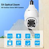 ECQ06-5MP-5X IP 5 x Zoom óptico Cámara WiFi Seguimiento automático inalámbrico 5MP Visión nocturna PTZ Impermeable Velocidad Dome Vigilancia PTZ Cámara E27 Conector Almacenamiento de tarjeta TF
