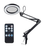 NEWACALOX Remote Flexible Desk Magnifier 5X USB LED Magnifying Glass 3 Colors Illuminated Magnifier Lamp Wireless Remote Control