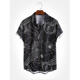 Mens Geometric Padrão Imprimir Turn Down Collar Camisas de manga curta