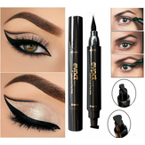 2 i 1 Black Liquid Eyeliner Wing Seal Stämpel Penna Quick Dry Vattentät Makeup