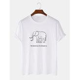 Éléphant simple et lettre imprimée col rond T-shirts amples à manches courtes