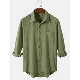 100% Cotton Mens Solid Color Button Up Long Sleeve Shirts With Pocket