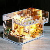 DIY Doll House Furnitures Miniature Doll house Dust Cover Wooden Dollhouse Light House For Dolls Handmade Toys For Children