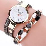 DUOYA DY106 Fashionable Women Armband Watch Vintage Läder Rem Quartz Watch