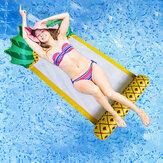 138*79CM Summer Foldable Pineapple Water Hammock Swimming Pool Inflatable Cushion Floating Lounge Chair Toy