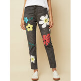 Casual Flower Print Button Denim Long Jeans para mulheres