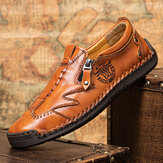 Men Side Zipper Comfy Hand Stitching Microfiber Leather Casual Shoes