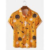 Halloween Cartoon Funny Print Short Sleeve Women Casual Shirts