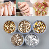 Gold Nail Art Glitter Proszek do kurzu Srebrne cekiny Arkusze Tips Manicure 3D Decoration Set
