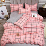 4PCS Washed Cotton Bedding Sets with Reactive Printed Plaid Striped Comforter Bedspread for Home