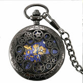 Deffrun Retro Style Black Pocket Watch Jam Mekanik