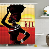 African Girl Waterproof Bathroom Shower Curtains with C-shaped Curtain Hooks
