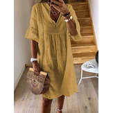 Women Short Sleeve V-neck Lace Hollow Solid Casual Dress