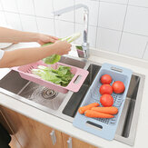 Retractable Storage Rack Drying Vegetable Drain Basket Dish Sink Basin Drain for Kitchen Tool