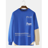 Mens Cotton Letter Text Print Crew Neck Relaxed Fit Irregular Patchwork Hem Sweatshirts