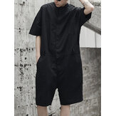 Mens Loose Overalls Button Up Casual Cargo Jumpsuit Streetwear Rompers Pants